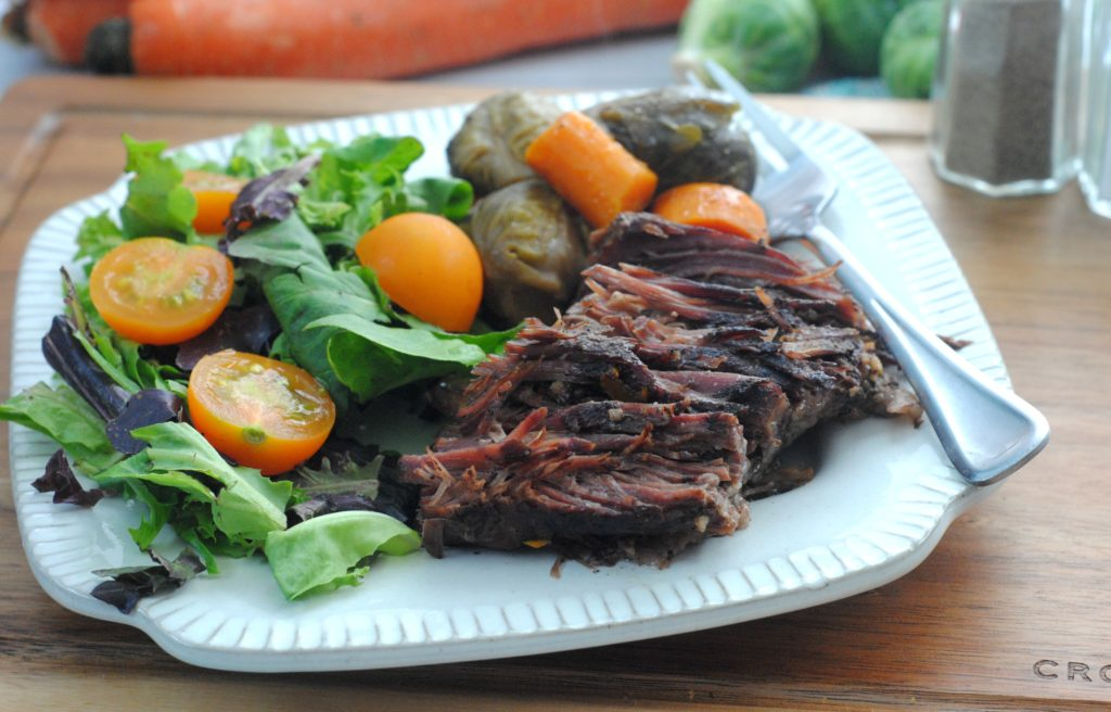 beef roast and brussels sprouts