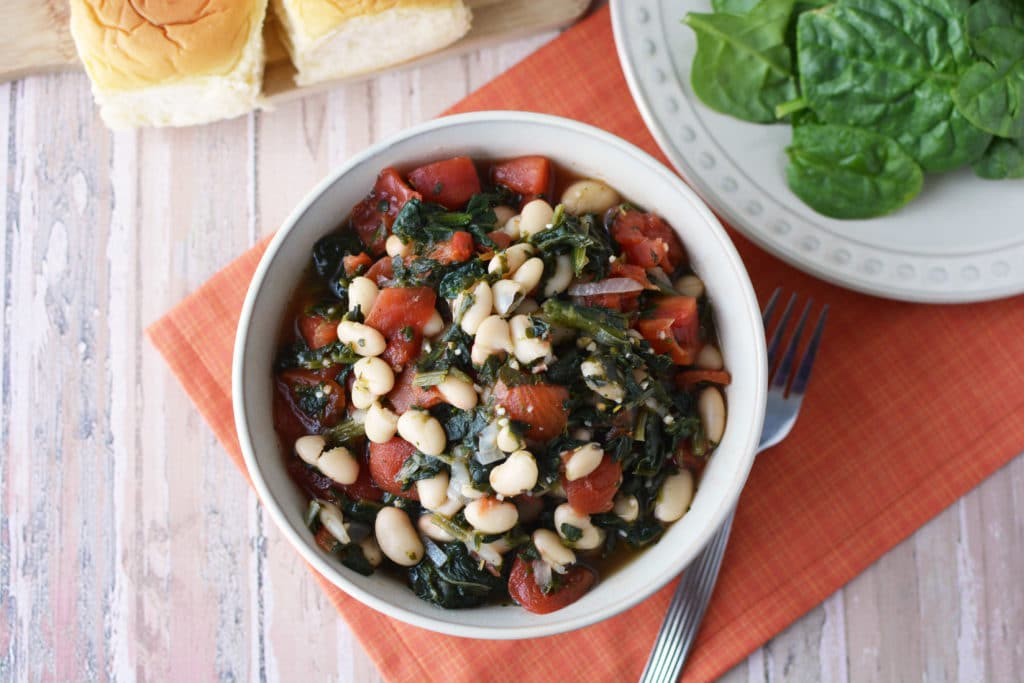 white beans with spinach and tomatoes
