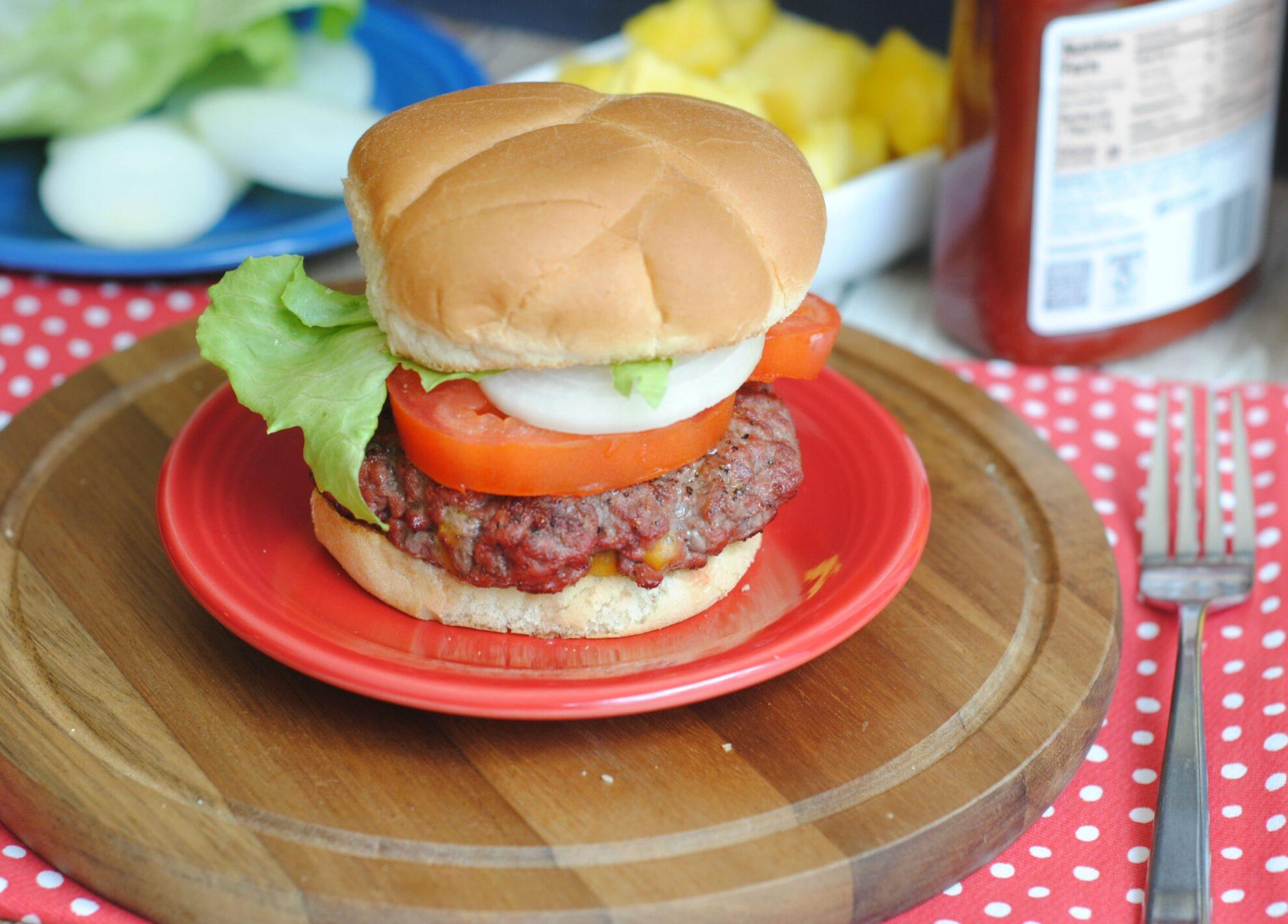stuffed double cheeseburger